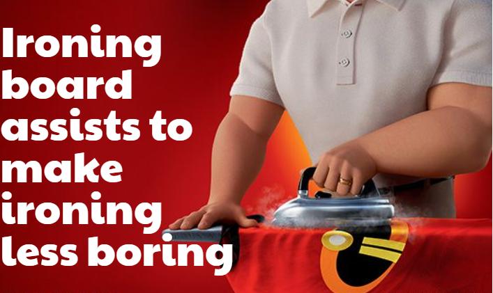Ironing board assists to make ironing less boring